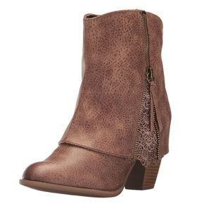 Not Rated Women's Taupe Ankle Crochet Booties